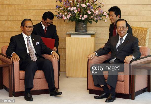 Chairman of the Indonesian Regional Representatives Council Ginandiar Kartasasmita meets Japanese Prime Minister Yasuo Fukuda at the prime minister's...
