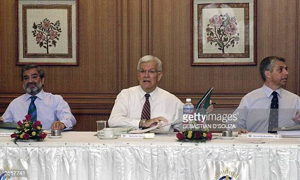 Chairman of the International Cricket Council Malcolm Speed addresses the meeting of Chief Executives of the major cricket nations as ICC President...