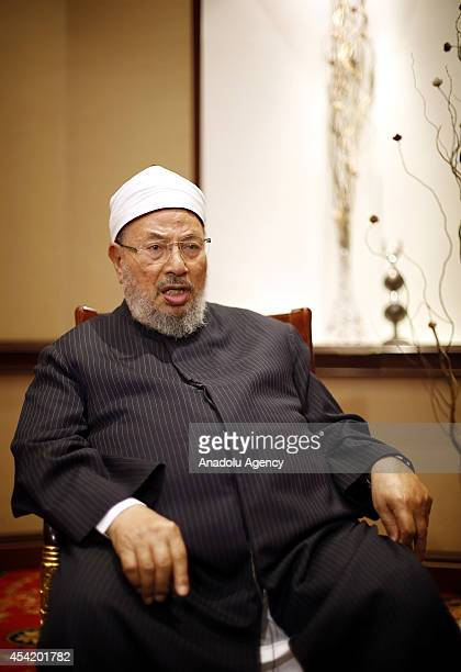 Chairman of the International Union of Muslim Scholars Sheikh Yusuf alQaradawi speaks to the press in Istanbul Turkey on August 26 2014 ElKaradawi...