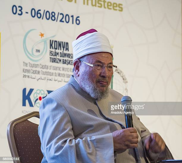 Chairman of the International Union of Muslim Scholars Yusuf alQaradawi gives a speech during the International Union of Muslim Scholars Meeting held...