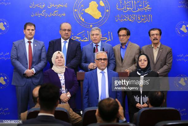 Chairman of the Iraqi Turkmen Front Arshad alSalihi holds a press conference on forming a Turkmen group of 9 MPs at the Parliament Building in...