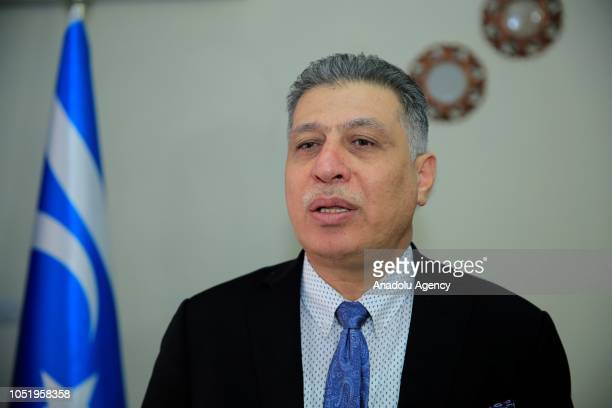 Chairman of the Iraqi Turkmen Front Arshad alSalihi speaks to media after his meeting with Adil AbdulMahdi who is assigned by Iraq's President Barham...