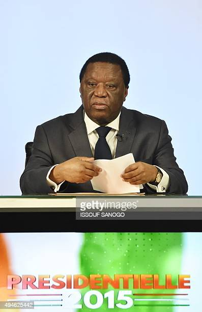Chairman of the Ivory Coast's Independent Electoral Commission Youssouf Bakayoko speaks at the commission's headquarters in Abidjan early on October...