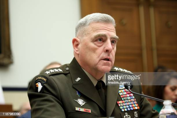 Chairman of the Joint Chief of Staff Gen Mark Milley testifies during a hearing on US Policy in Syria before the House Armed Services Committee in...