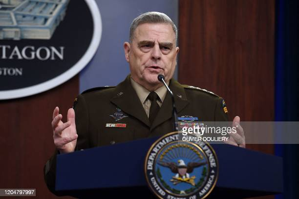 Chairman of the Joint Chiefs of Staff Army Gen Mark Milley speaks at a press conference in the briefing room at the Pentagon on March 2 2020 in...