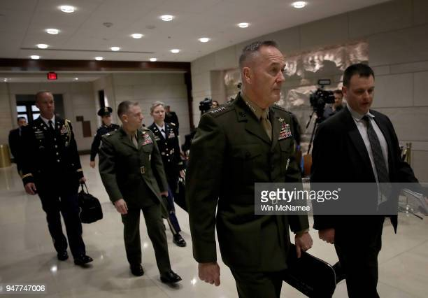 S Chairman of the Joint Chiefs of Staff Gen Joseph Dunford arrives for a closed briefing for members of the House of Representatives at the US...