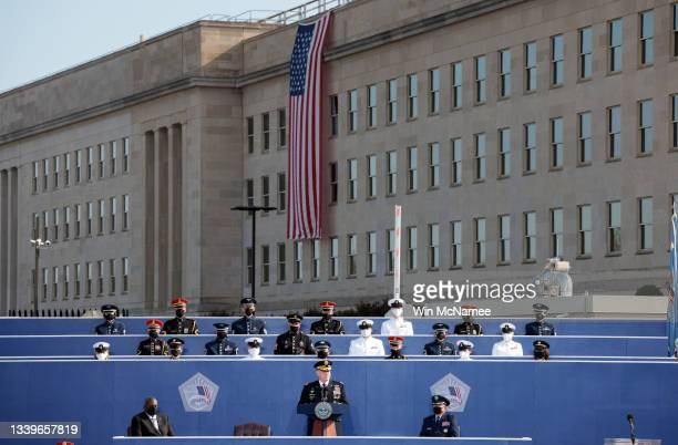 Chairman of the Joint Chiefs of Staff Gen. Mark A. Milley delivers remarks during the Pentagon 9/11 observance ceremony at the National 9/11 Pentagon...