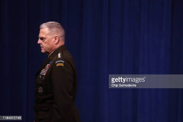 S Chairman of the Joint Chiefs of Staff Gen Mark Milley leaves a news conference at the Pentagon the day after it was announced that Abu Bakr...