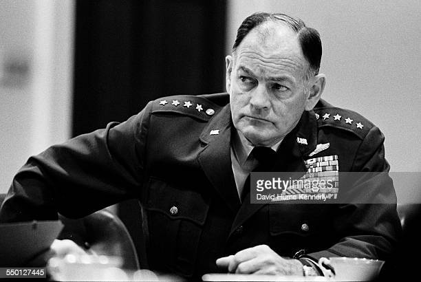 Chairman of the Joint Chiefs of Staff General George S Brown at a meeting of the National Security Council in the Roosevelt Room as President Gerald...