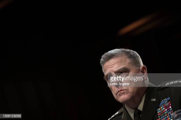 Chairman of the Joint Chiefs of Staff Mark Milley testifies during a Senate Armed Services Committee hearing concerning the Department of Defense...