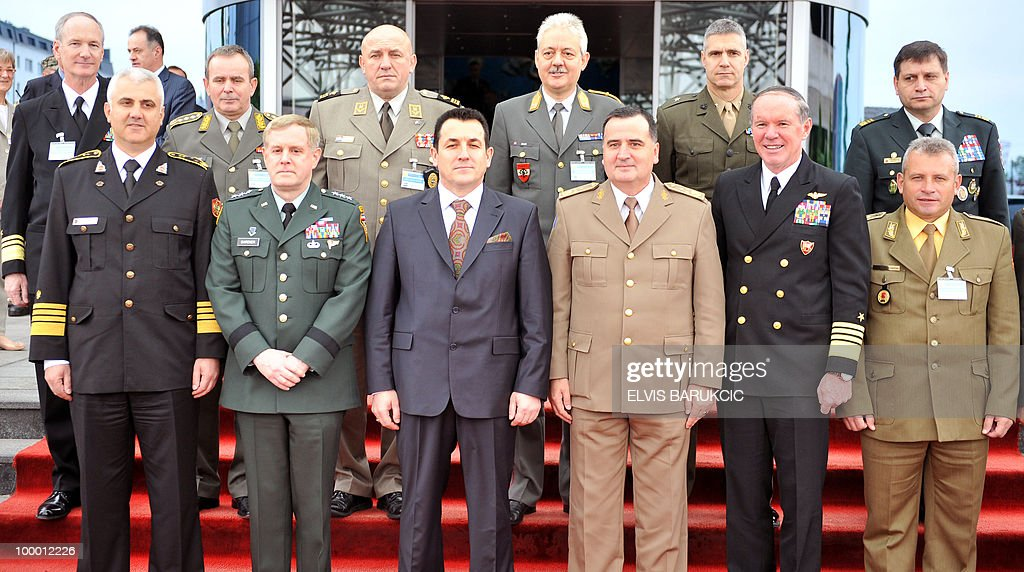 Chairman of the Joint Chiefs of Staff of the Armed Forces of Montenegro, Vice Admiral Dragan Samardzic (front 1st L), Deputy Commander of US Command in Europe, Lieutenant General John Gardner (front 2nd L) Minister of Defence of Bosnia and Herzegovina, Selmo Cikotic (front 3rd L), Chairman of the Joint Chiefs of Staff of the Armed Forces of Bosnia and Herzegovina, Brigadier General Miladin Milojcic (front 4th L), Commander South Wing NATO, US Admiral Mark Ftizgerald (front 5th L), Chairman of the Joint Chiefs of Staff of the Armed Forces of FYR Macedonia, General Miroslav Stojanovski (front 6th L), Chairman of the Joint Chiefs of Staff of the Armed Forces of Serbia, General Blagoje Miletic (back 2nd L), Chairman of the Joint Chiefs of Staff of the Armed Forces of Croatia, General Josip Lucic (back 3rd L), EUFOR Commander in Bosnia, Austrian Major General Bernhard Bair (back 4th L), Commandr of NATO Headquarters in Sarajevo, US Brigadier General John Bulard (back 5th L) and Chairman of the Joint Chiefs of Staff of the Armed Forces of Slovenia, Major General Alojz Stejner (back 6th L) pose for family photo prior to session of The US-Adriatic Charter, held in Sarajevo, on May 20, 2010. Military leadership of the Balkan countries signed a joint statement on regional co-operation in destroying the surplus weapons and ammunition.