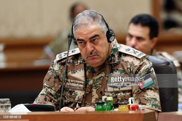 Chairman of the Joint Chiefs of Staff of the Jordanian military LieutenantGeneral Mahmoud Freihat listens during a Gulf cooperation council's armed...
