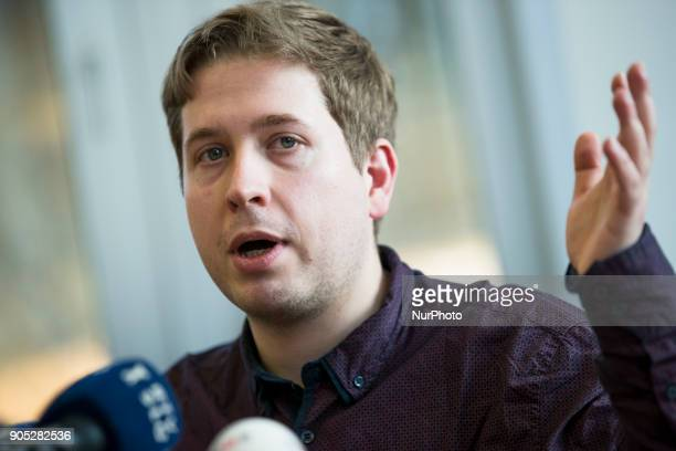 Chairman of the Juso Kevin Kuehnert is pictured during a meeting with journalists of the Foreign Press Association in Berlin Germany on January 15...
