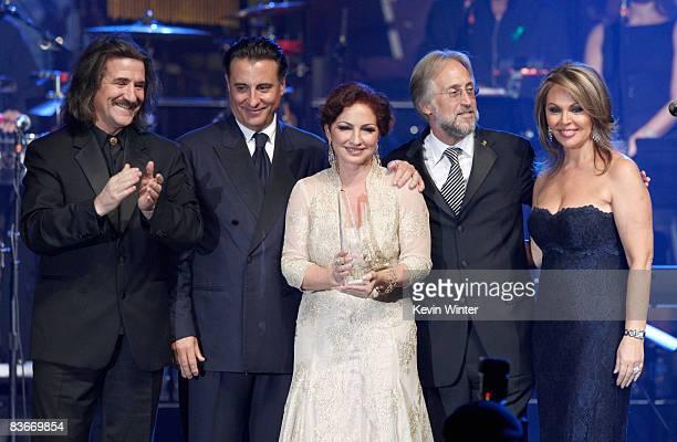 Chairman of the Latin Recording Academy Luis Cobos, actor Andy Garcia, singer Gloria Estefan, President of the Recording Academy Neil Portnow, and...