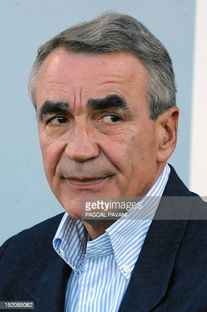 Chairman of the Ligue Nationale de Rugby French PierreYves Revol is pictured during the French Top 14 rugby union match Castres vs Biarritz on...