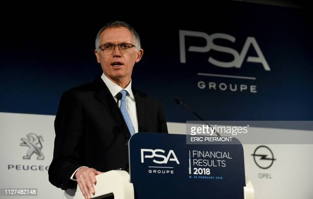 Chairman of the Managing Board of French carmaker PSA Group Carlos Tavares gives a speech during the presentation of the group full year 2018...