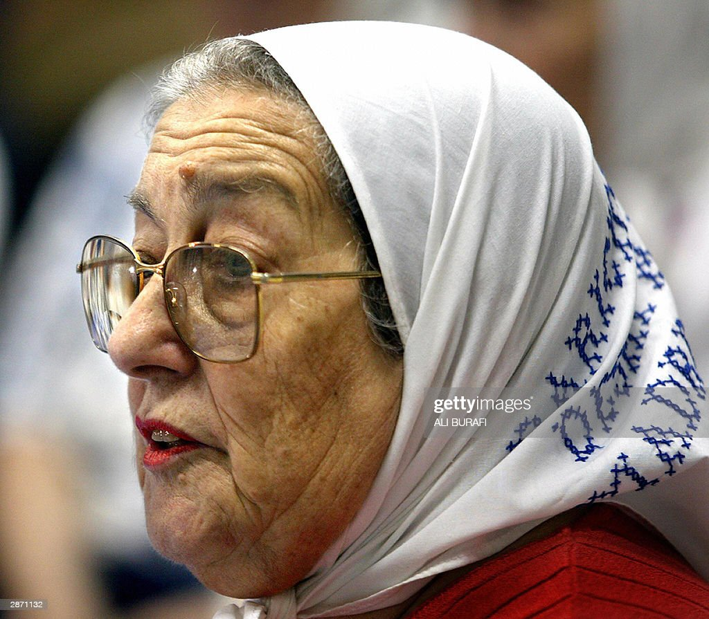 Chairman of the Mothers of Plaza de Mayo organization Hebe de Bonafini speaks 15 January, 2004 during a press conference in Buenos Aires. AFP PHOTO Ali BURAFI