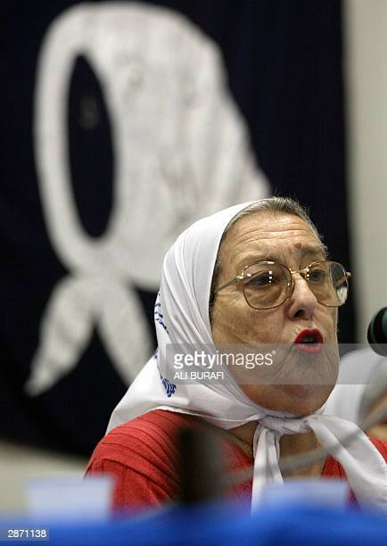 Chairman of the Mothers of Plaza de Mayo organization Hebe de Bonafini speaks 15 January 2004 during a press conference in Buenos Aires AFP PHOTO Ali...