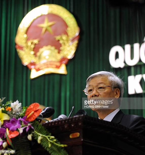 Chairman of the National Assembly Nguyen Phu Trong addresses at the opening of the summer session of the National Assembly in Hanoi on May 20 2009...