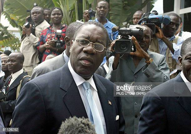 Chairman of the National Transitional Government of Liberia Gyude Bryant arrives at the conference centre in Accra Thursday 29 July 2004 to...