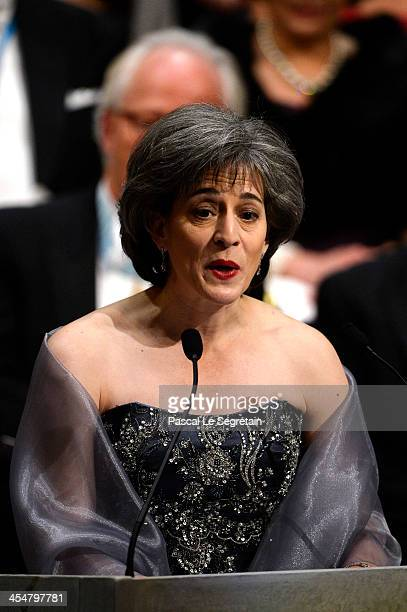 Chairman of the Nobel Committee for Physiology or Medicine Professor Juleen Zierath delivers a speach during the Nobel Prize Awards Ceremony at...