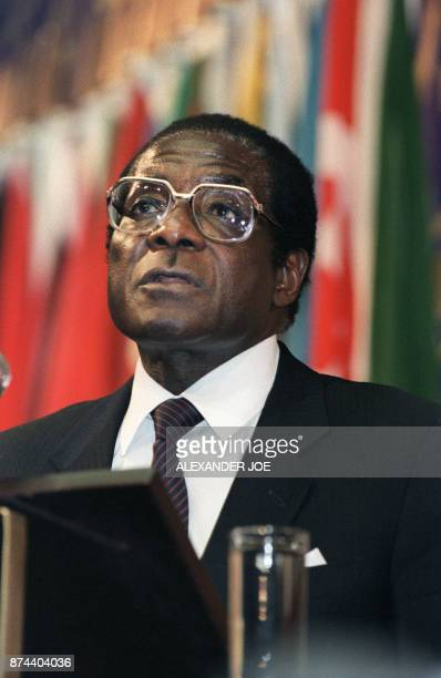 Chairman of the NonAligned Movement Zimbabwean Prime minister Robert Mugabe delivers a speech 07 September 1986 at the International centre of Harare...