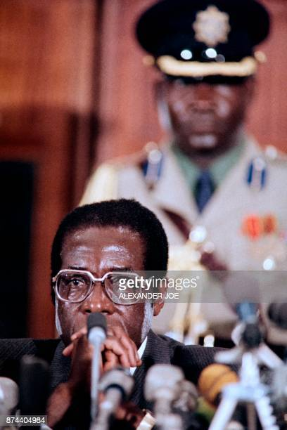 Chairman of the NonAligned Movement Zimbabwean Prime minister Robert Mugabe delivers a speech on August 29 at the International centre of Harare...