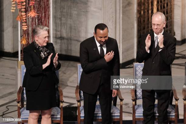 Chairman of the Norwegian Nobel Committee Berit Reiss-Andersen, Ethiopia's Prime Minister and 2019 Nobel Peace Prize Laureate Abiy Ahmed Ali and...
