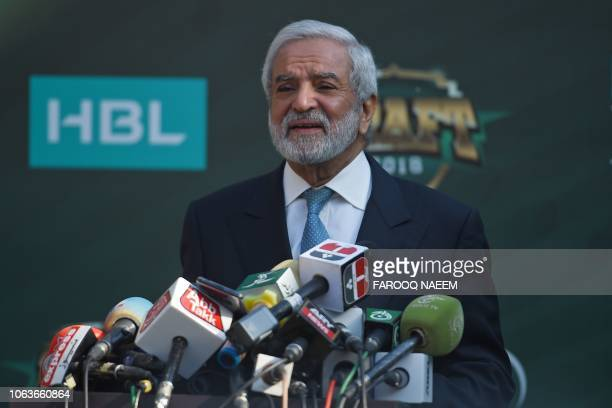 Chairman of the Pakistan Cricket Board Ehsan Mani talks with media representatives before the start of the Pakistan Super League draft in Islamabad...