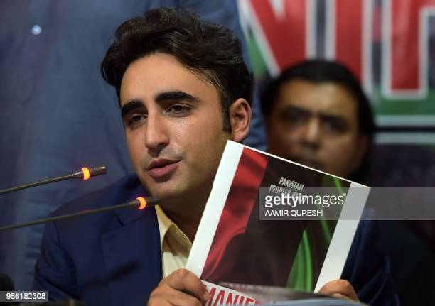 Chairman of the Pakistan Peoples Party Bilawal Bhutto Zardari presents his party manifesto for the forthcoming general election during a press...