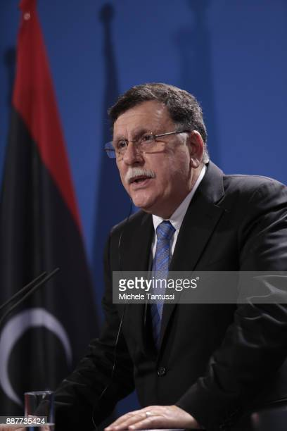 Chairman of the Presidential Council of Libya and prime minister Fayez Mustafa al-Sarraj adress the media during a press conference with Germany...