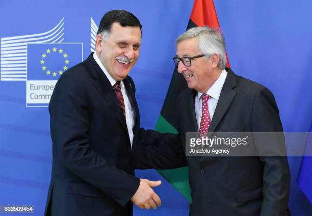 Chairman of the Presidential Council of Libya Fayez al-Sarraj meets with President of the European Commission, Jean-Claude Juncker in Brussels,...