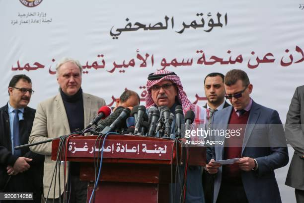 Chairman of the Qatari Committee for the Reconstruction of Gaza HE Ambassador Mohammed AlEmadi speaks to press as the 9 Million Dollar worth...