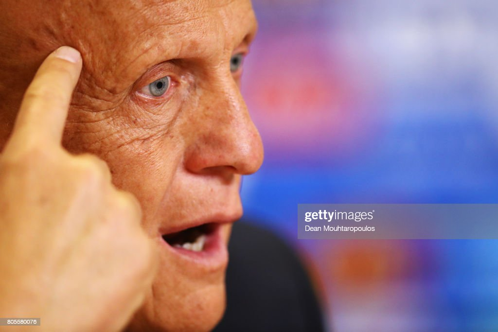 Chairman of the Referees Committee, Pierluigi Collina speaks to the media during the Closing Press Conference of the FIFA Confederations Cup Russia 2017 held at the Krestovsky Stadium or Saint Petersburg Stadium on July 1, 2017 in Saint Petersburg, Russia.