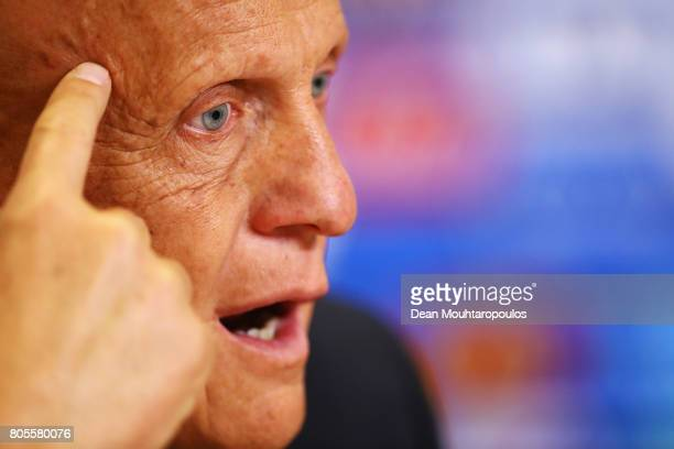 Chairman of the Referees Committee Pierluigi Collina speaks to the media during the Closing Press Conference of the FIFA Confederations Cup Russia...