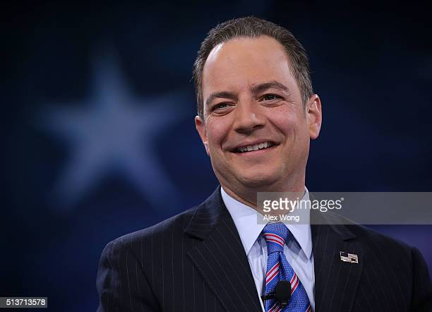 Chairman of the Republican National Committee Reince Priebus participates in a discussion during CPAC 2016 March 4 2016 in National Harbor Maryland...