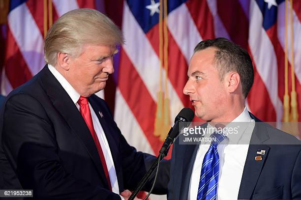 Chairman of the Republican National Committee Reince Priebus shakes hands with Republican presidential elect Donald Trump during election night at...