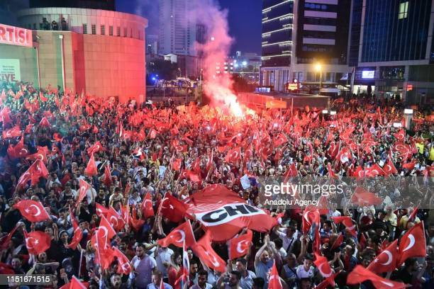 Chairman of the Republican People's Party Kemal Kilicdaroglu addresses the crowd in front of CHP headquarters regarding Istanbul's mayoral election...