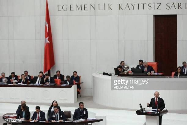 Chairman of the Republican People's Party Kemal Kilicdaroglu speaks during the debate over the 2019 budget at the Grand National Assembly of Turkey...