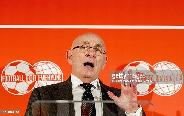 Chairman of the Royal Dutch Football Association Michael van Praag speaks at a press conference in Zeist, on March 2 to explain his campaign and the...