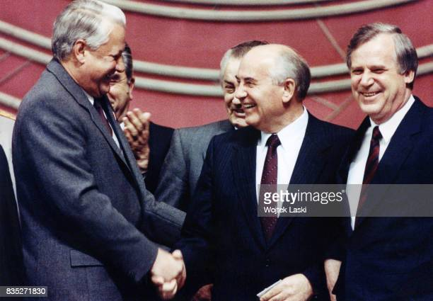 Chairman of the Russian Supreme Soviet Boris Yeltsin, General Secretary of the CPSU Mikhail Gorbachev and Chairman of the Council of Ministers...