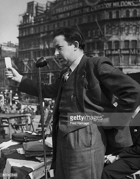 Chairman of the Scottish National Party Dr Robert McIntyre making a speech during a Home Rule rally in Trafalgar Square 19th April 1953