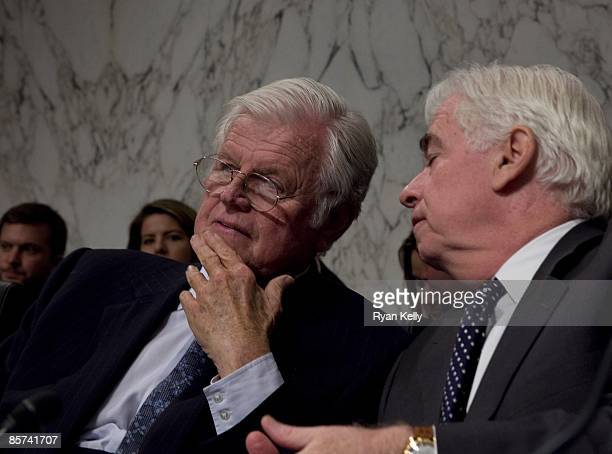 March 31: Chairman of the Senate Committee on Health, Education and Pensions, Senator Edward M. Kennedy talks to Senator Christopher J. Dodd during...
