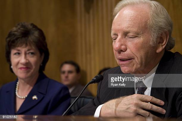 Chairman of the Senate Homeland Security and Governmental Affairs Committee Joseph I Lieberman IConn right and ranking Republican Susan Collins...