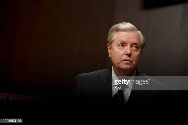 Chairman of the Senate Judiciary Committee Sen. Lindsey Graham , waits to begin a hearing on Wednesday, September 30, 2020 on Capitol Hill in...