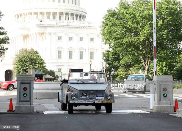 Chairman of the Senate Select Committee on Intelligence Richard Burr arrives on Capitol Hill driving his 1973 VW Thing on May 18 2017 in Washington...