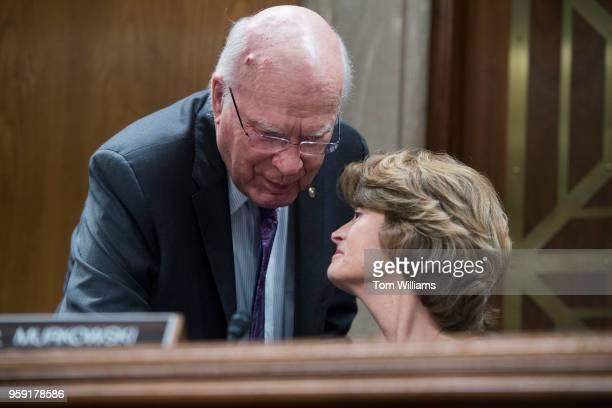 Chairman of the subcommittee Sen Lisa Murkowski RAlaska and Sen Patrick Leahy DVt attend a Senate Appropriations Interior Environment and Related...