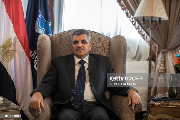 Chairman of the Suez Canal Authority Admiral Osama Rabie is pictured during an interview with AFP at his office in the Suez Canal headquarters in the...