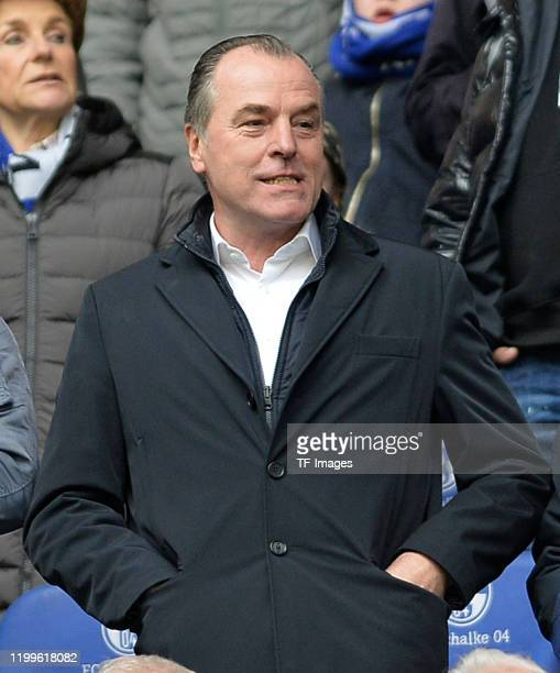 Chairman of the supervisory board Clemens Toennies of FC Schalke 04 looks on prior to the Bundesliga match between FC Schalke 04 and SC Paderborn 07...