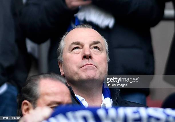 Chairman of the supervisory board Clemens Toennies of FC Schalke 04 looks on prior to the Bundesliga match between FC Schalke 04 and TSG 1899...